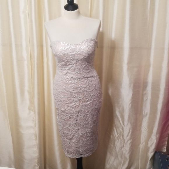 bebe Dresses & Skirts - BeBe Silver and Nude lace midi dress size Medium